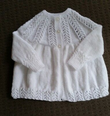 Pretty 3ply White H/knitted Matinee Jacket. 000...NEW