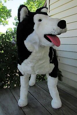 "Ultra-Cute Life-Size Plush Husky Puppy by Melissa & Doug - 26"" Tall, 32"" Long"