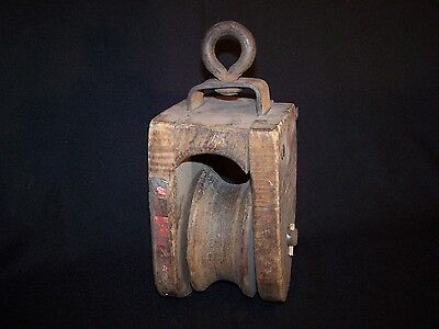Antique Wooden Block & Tackle Pulley