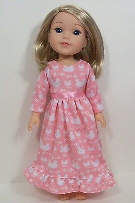 "PINK Bunny Pj Nightgown Doll Clothes For 14"" AG Wellie Wisher Wishers (Debs)"