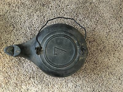 Vintage Cast Iron Kettle. Stamped 7. Good Condition. Circa 1800's.