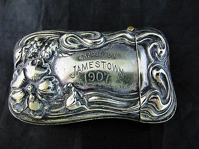 1907 Silver Advertising MATCH SAFE Vesta~~JAMESTOWN Exposition Souvenir