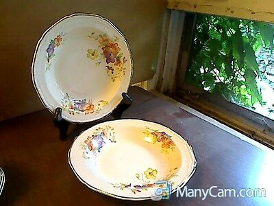 1934 Edwin Knowles Franklin Ware Soup Bowls Pansy