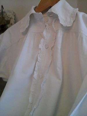 Antique French Handwoven Hemp Linen Chore Work Shirt ~Chemise Night Smock ~1800s