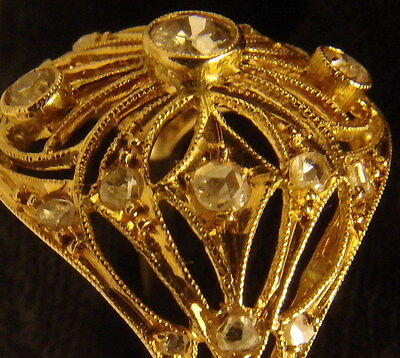 3111 Antique Edwardian 18K  Gold Domed Ring Nouveau Filigree Diamonds, C.1910