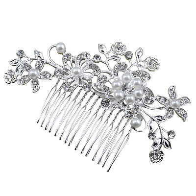 Crystal Rhinestone Wedding Flower Pearls Hair Clip Hair Comb For Women Bride New