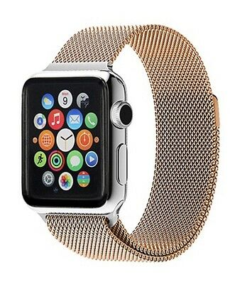Milanese Magnetic Stainless Steel Mesh Strap Band For iWatch 42mm Rose Gold