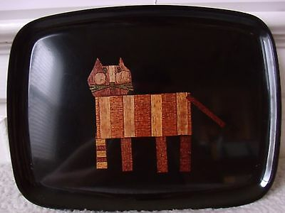 Vintage Tabby Cat Couroc of Monterey Tray. Wood, Brass Inlay. Mid Century Modern