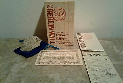 1989 Boxed Berlin Wall Germany Historic Artifact Piece W/ Paperwork
