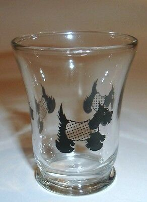 Small Black Scottie Dogs Wearing Sweaters Drinking Glass Vintage
