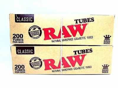 Raw King Size Empty Cigarette Tubes 2 Pack 200 Count Rolling Tobacco Authentic