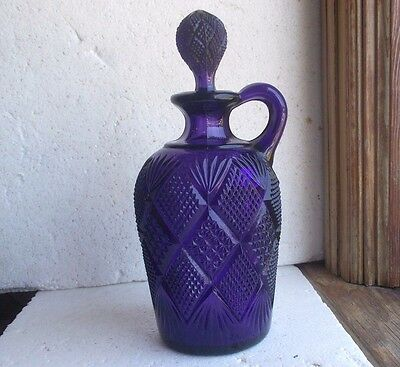 Beautiful Deep Purple Pressed Glass Jug With Handle & Stopper Diamond Hobnails
