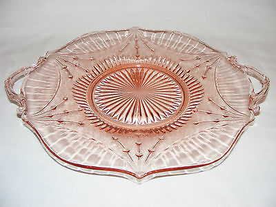 """VINTAGE 11"""" ART DECO 1930s PINK DEPRESSION GLASS CAKE PLATE PASTRY  SERVING TRAY"""