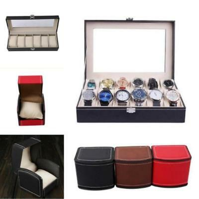 1/6/10 Slot Leather Watch Box Display Case Organizer Glass Top Jewelry Storage J