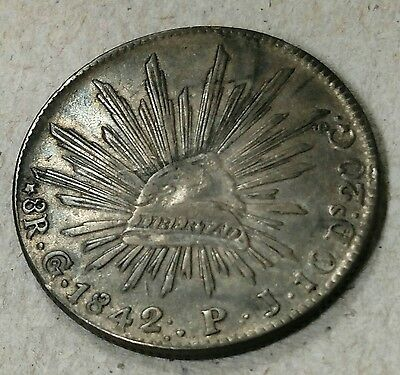 Mexico 1842 Go PJ 8 Reales Rare 3 Dots After Date :. Scarce Silver Coin !!