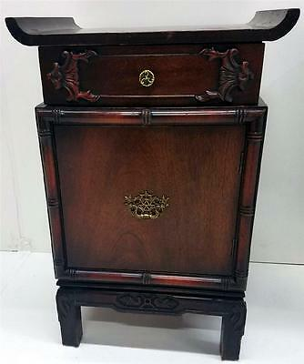 19531 Pair of Mahogany Oriental Nightstands / Night Tables