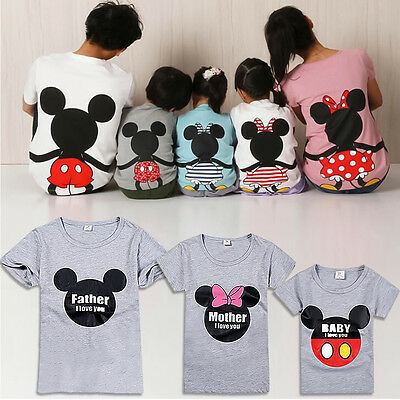 Family Matching Outfits T-shirt Couple Baby Kids Mickey Minnie Mouse Tops Blouse