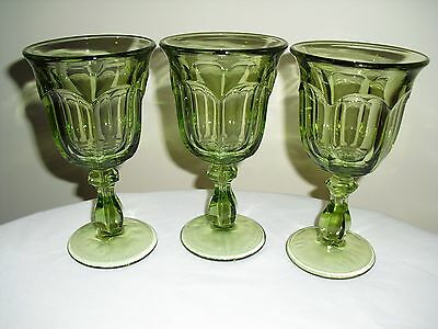 3 Vintage Imperial Glass Old Williamsburg Wine / Water Goblets - Green