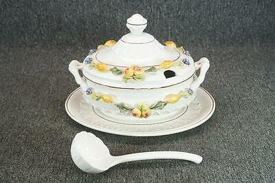 CPL Italy Porcelain Soup Tureen With Ladle And Base Plate With Fruit Relief
