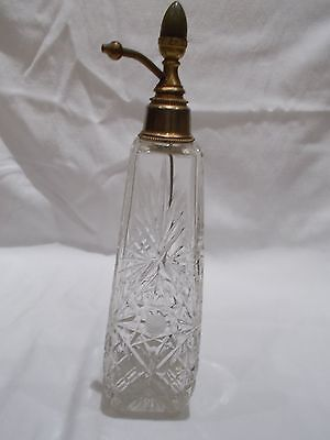 Antique cut glass large perfume bottle with Brass top