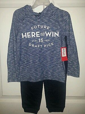 Toddler Boy Kidgets Blue Striped Hooded Pullover Shirt and Sweat Pants Size 3T