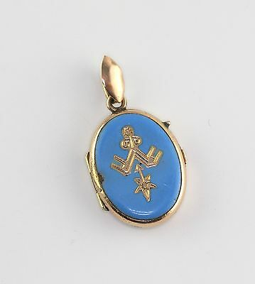 Antique Victorian Gold Fill Blue Enamel Locket Pendant