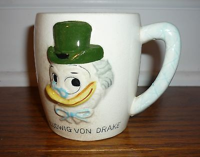 Ludwig Von Drake Uncle Scrooge ceramic mug, 1961 Walt Disney Productions