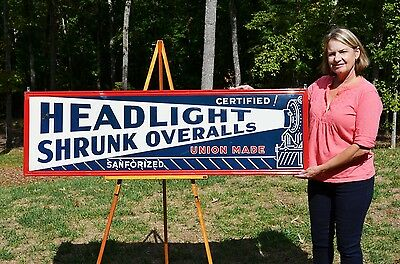 Vintage Scarce Headlight Shrunk Overalls Pants Embossed Sign Rare Collectable