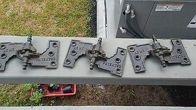 3 Antique Cast Iron Shutter Hinges Exterior Acme Patented Rights