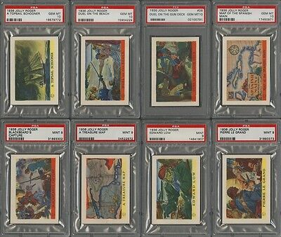 """1936 F375 """"JOLLY ROGER PIRATES"""" COMPLETE SET (48 CARDS) ALL PSA 10, 9, 8.5 or 8"""
