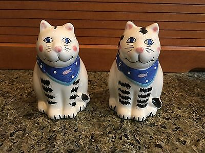 """Vintage Cat Salt and Pepper Shakers - Coco Dowley Cert Int - Ceramic - 3-1/2"""""""