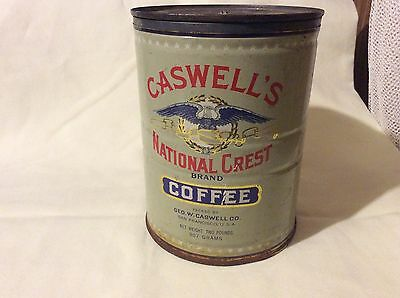 VINTAGE CASWELL'S COFFEE CAN TIN 2 LB SAN FRANCISCO CALIFORNIA with lid