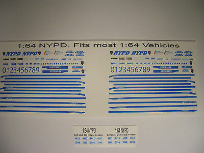 NYPD Police 1/64 Waterslide Decal Set Fits 1/64 scale Vehicles