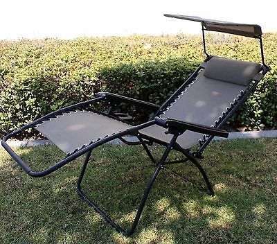 300lbs OutDoor Folding Recliner Zero Gravity Lounge Chair w/ Shade Canopy