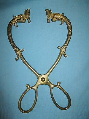 ANTIQUE RARE ENGLISH SOLID BRASS FIREPLACE COAL TONGS w/SERPRENT HEADS CA 1850