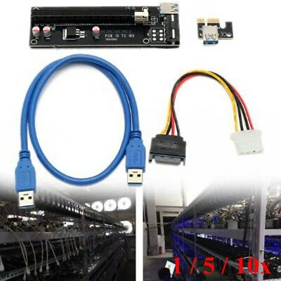 20Set USB 3.0 PCI-E Express 1x To 16x Extender Riser Card Adapter Power Cable