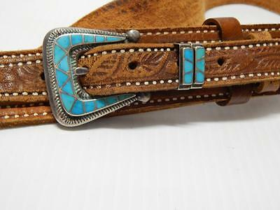 Antique Vintage Zuni Indian Sterling Silver Inlay Ranger Belt Buckle Set 4 Pc