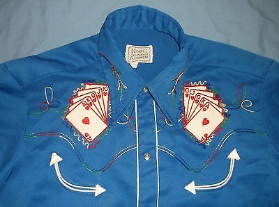 VTG 70's H BAR C Western shirt snap playing cards LG/XL Blue Polyester smiles