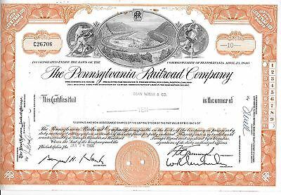 The Pennsylvania Railroad Co. Orange Stock Certificate 10 shares