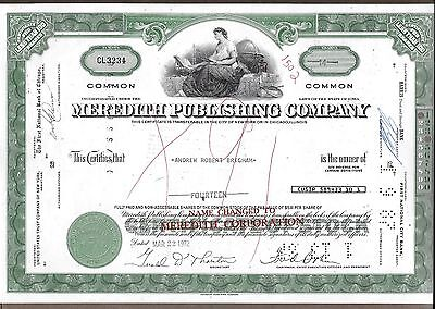 Meredith Publishing Company Stock Certificate 14 shares issued 03/22/1972
