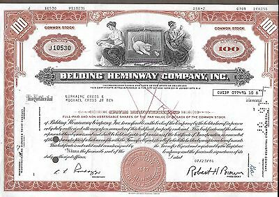 Belding Heminway Company Stock Cert Punch cancel 100 shares issued 07/23/1986