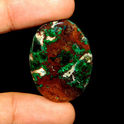 43.00 Cts 100% Natural 34X24 Mm Ruby In Malachite Oval Indian Handmade Gemstone