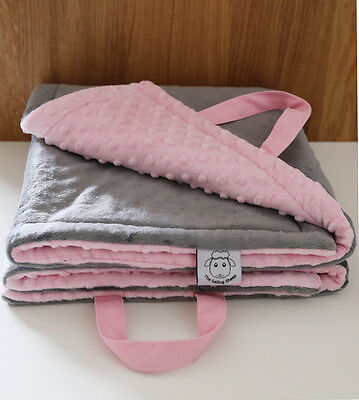Sale Limited time Minky Baby Play Mat Tummy Time Grey Pink Shower Gift