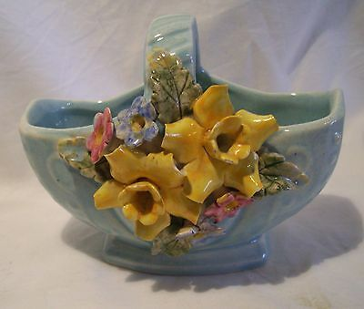 Vintage  Australian Pottery Galart Basket Applied Flowers