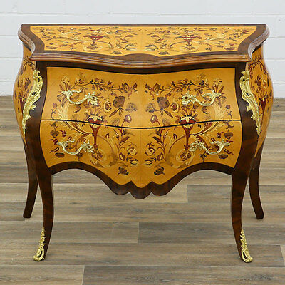 "LOUIS-XV-STIL BOMBE CHEST COMMODE ""au Marqueterie de fleurs "" MARKETERIE KOMMODE"