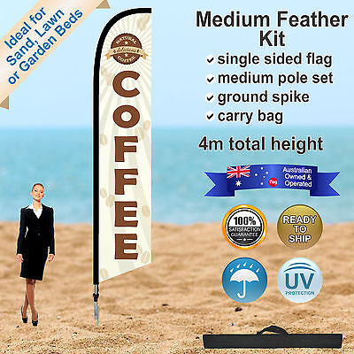 COFFEE Feather Flag/Banner Kit (1.4 to 4.5m) *Outdoor *Windless *High Quality