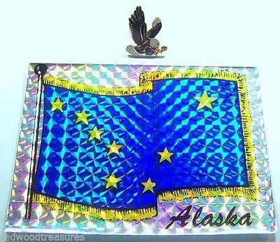 ALASKA Souvenirs Eagle Pin  & New Foil ,Alaskan State Flag Sticker