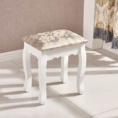 Wood White Padded Dressing Table Makeup Stool Piano Seat Baroque UK Bedroom