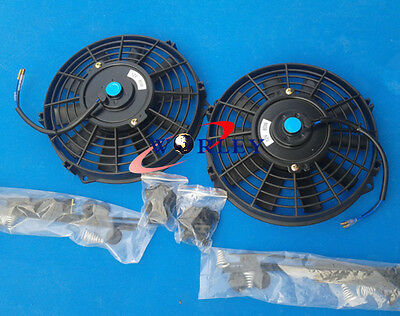 "2 pcs 10 inch 12V Electric Cooling Fan & Mounting kit 10"" universal Thermo Fans"
