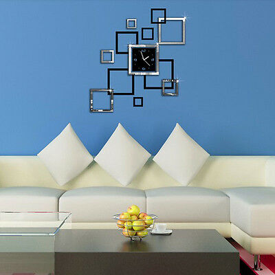 DIY 3D Large Number Mirror Wall Clock Sticker Decor Home Bedroom Kids Room Art